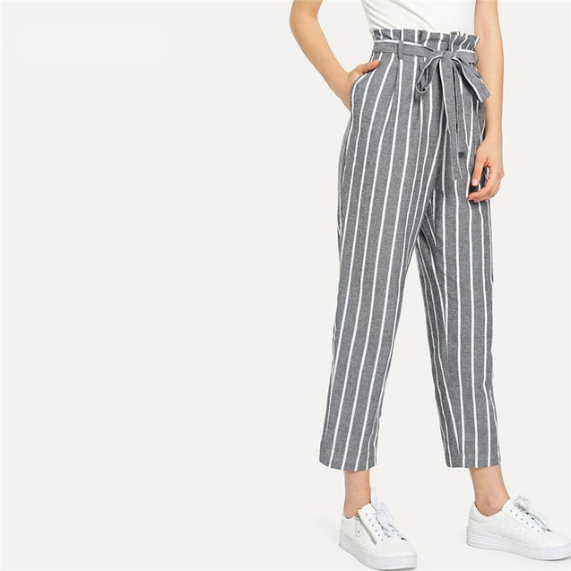 Grey Vacation Boho Bohemian Beach Self Belted Striped Tapered High Waist Pants Summer Women Weekend Casual Carrot Trousers - TGCboutique