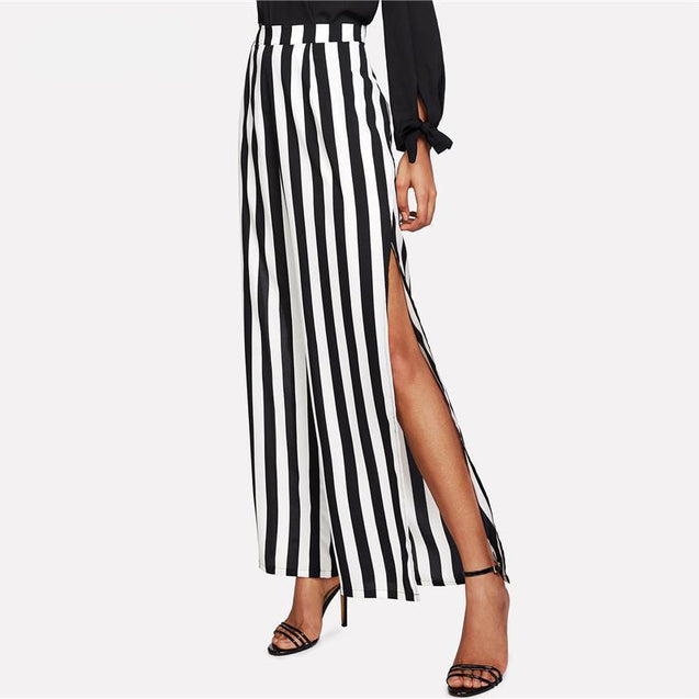 High Slit Striped Palazzo Pants 2018 Summer Black and White Striped Cool Trousers Women Mid Waist Vacation Loose Pants - TGCboutique