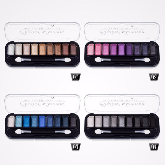 Perfect Summer 9 Color Eye Shadow Palette Makeup Matte Shimmer Eyeshadow with Eye Brush Professional Classic Black Gray White - TGCboutique