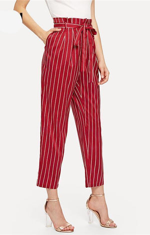 Red Frill Trim High Waist Wite Striped Tapered Pants Summer Women Belted Pocket Knot Long Workwear Trousers - TGCboutique