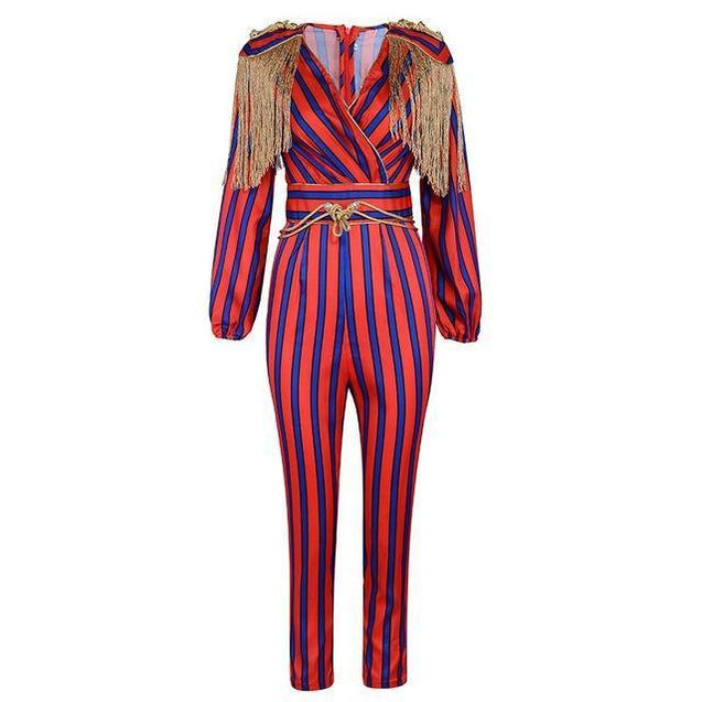 Runway Fringe Long Sleeve Striped Tassel Jumpsuit - TGCboutique