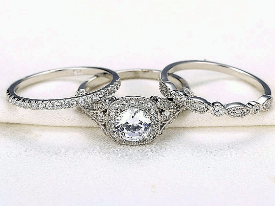 3 Piece Sterling Silver Engagement Ring Set - TGCboutique