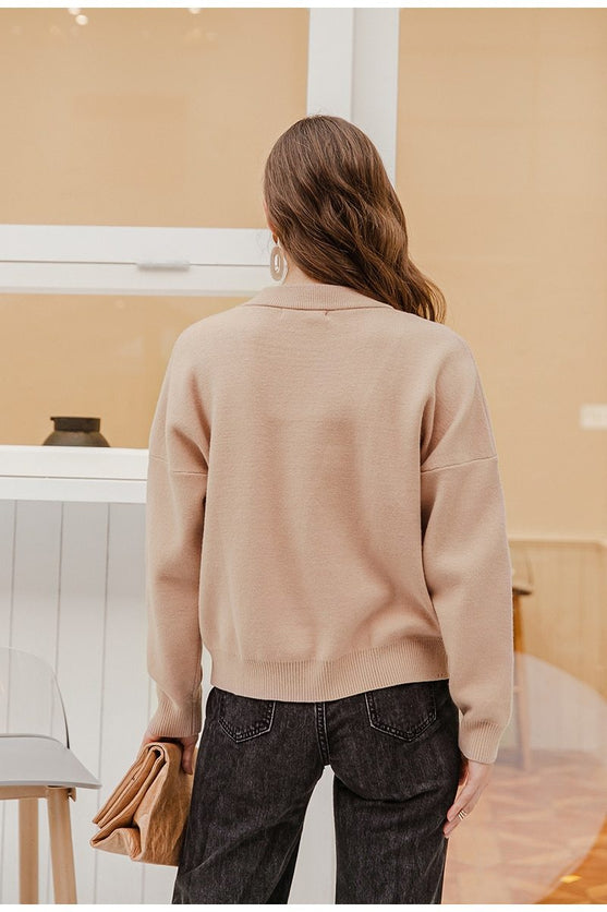 Nude Natural Knitted Casual Pullover Sweater Top - TGC Boutique