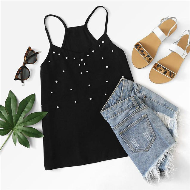 Black Pearl Embellished Cami Top - TGCboutique