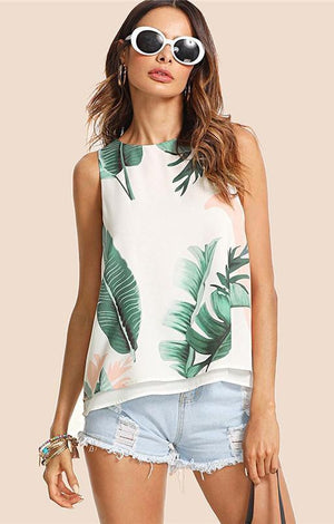 Bohemian Vacation Tropical Print Tank Top - TGCboutique