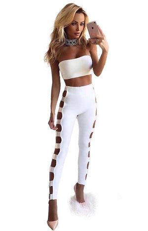 Two Pieces Set Bandage Hollow Out Top & Pants - TGCboutique