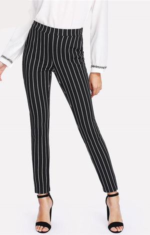 Vertical Striped Skinny Pants Women Elastic Waist Pocket OL Style Work Trousers 2018 Spring Mid Waist Long Pencil Pants - TGCboutique