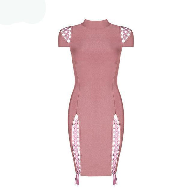 Bandage Stand Neck Hollow Out Both Side Lace Up Dress - TGCboutique