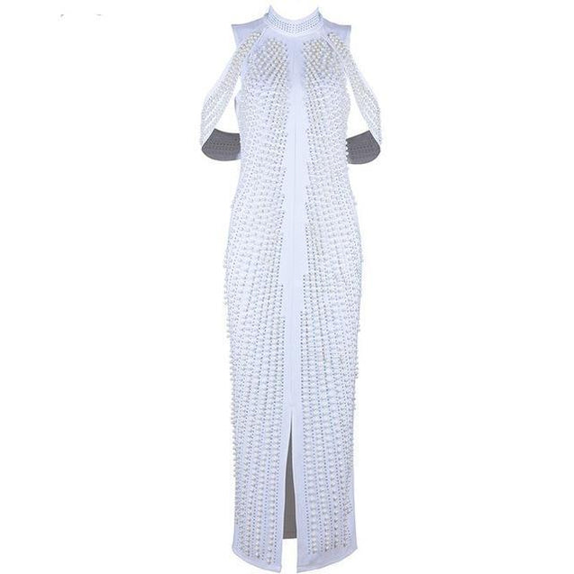 Sleeveless Long Beading Turtleneck Back Splitting Dress - TGCboutique