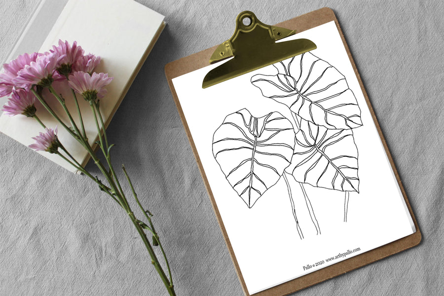 Freebie |  Printable Leaf Coloring Page
