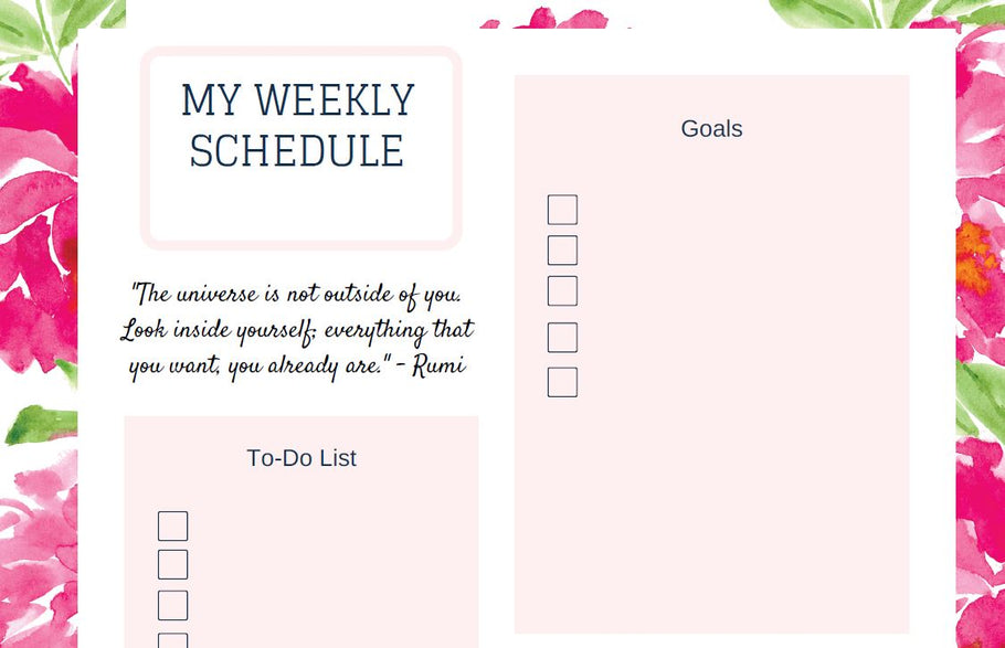 Freebie Friday - Undated Peony Weekly Planner From Pallo