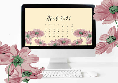 April 2021 Illustrated Desktop Wallpaper