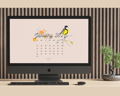 January 2021 Illustrated Desktop Wallpaper