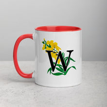 Load image into Gallery viewer, Letter W Floral Mug
