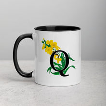 Load image into Gallery viewer, Letter Q Floral Mug