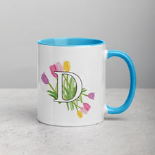 Load image into Gallery viewer, Letter D Floral Mug