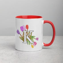 Load image into Gallery viewer, Letter K Floral Mug