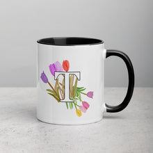 Load image into Gallery viewer, Letter T Floral Mug
