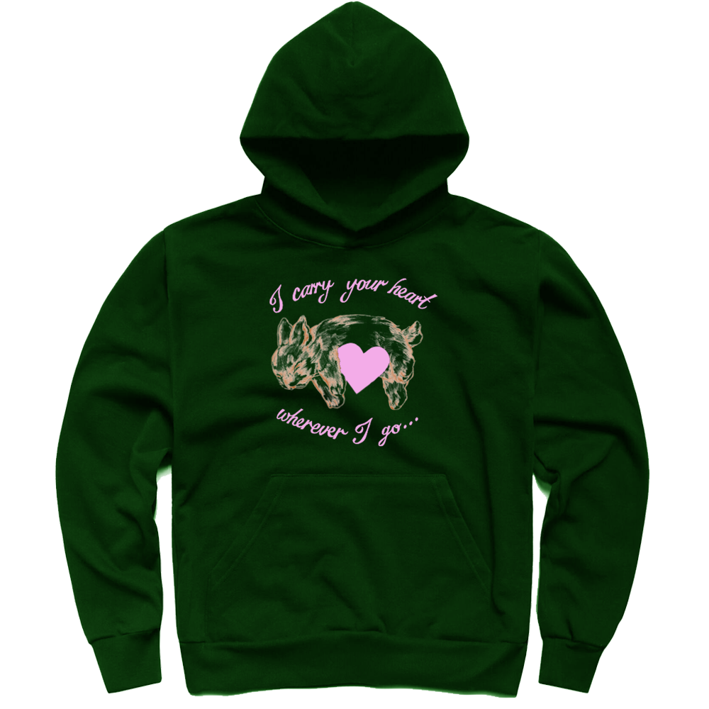 CARRY YOUR HEART HOODIE FOREST GREEN