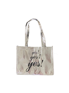 YES YES YES LARGE SILVER SHOPPING TOTE