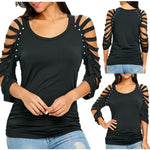 Women's Fashion O-Neck Cut Out Ripped Sleeve Beaded Top Sixes S - XXL