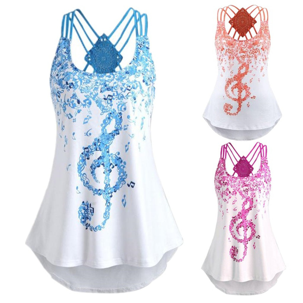 New Ladies Sleeveless Musical Note  Print Tank Tops Sizes S - XXL