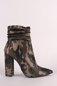 Qupid Camo Ruched Pointy-Toe Chunky Heel Ankle Boots
