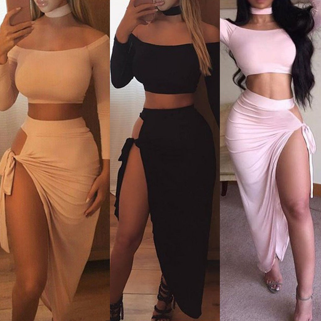 Sexy Women's Two-Pieces Long Side Split Skirt & Long Sleeve Crop Top S - XL