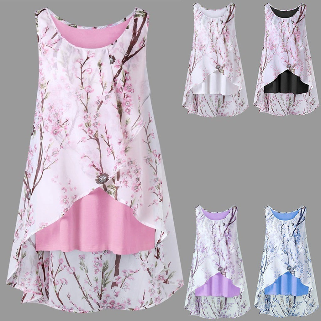 Women's Fashion  Tiny Floral Overlap Sleeveless Top Plus Sizes Available S - 5XL