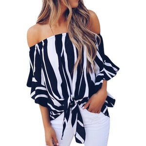 Sexy Women's Off Shoulder Bell Sleeve Tie Knot Blouse Sizes S - XXL