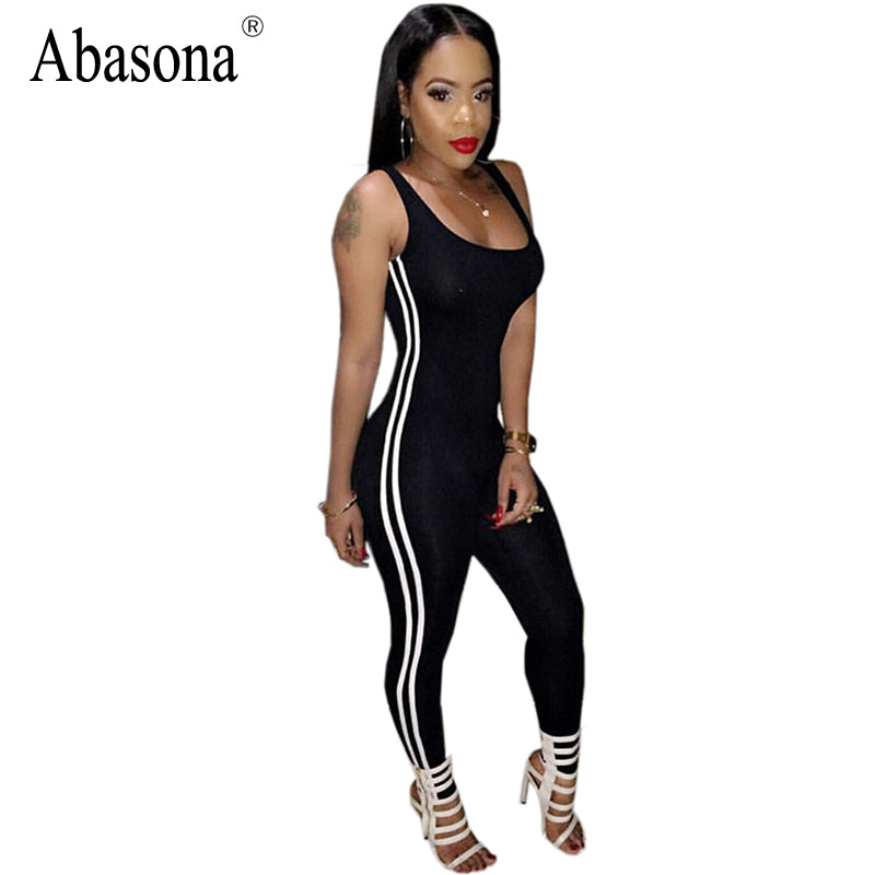 Sexy Sleeveless Backless Bodycon White Stripe Women's Jumpsuit / Bodysuit S - XL