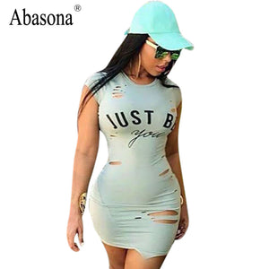Abasona Women's Sexy Short Sleeve Ripped Bodycon Mini T-shirt Dress With Letter Print S - XL