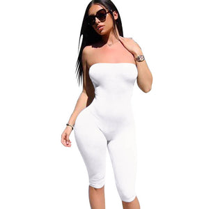Women's Solid Strapless Backless Spandex Bodycon Jumpsuit / Bodysuit S - XL