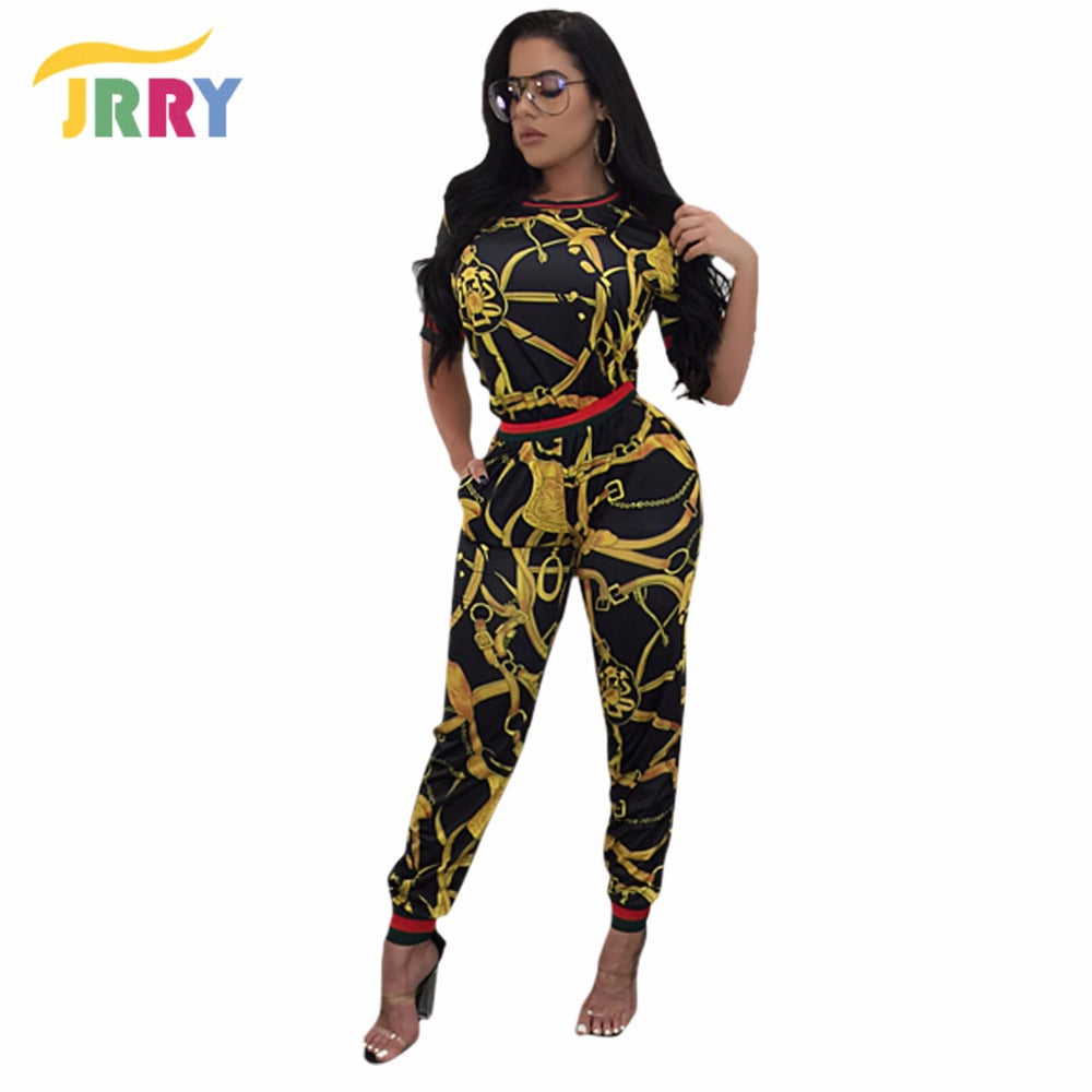 Black & Gold Two Pieces Short Sleeve Women's #Jumpsuit Sizes S - XXXL