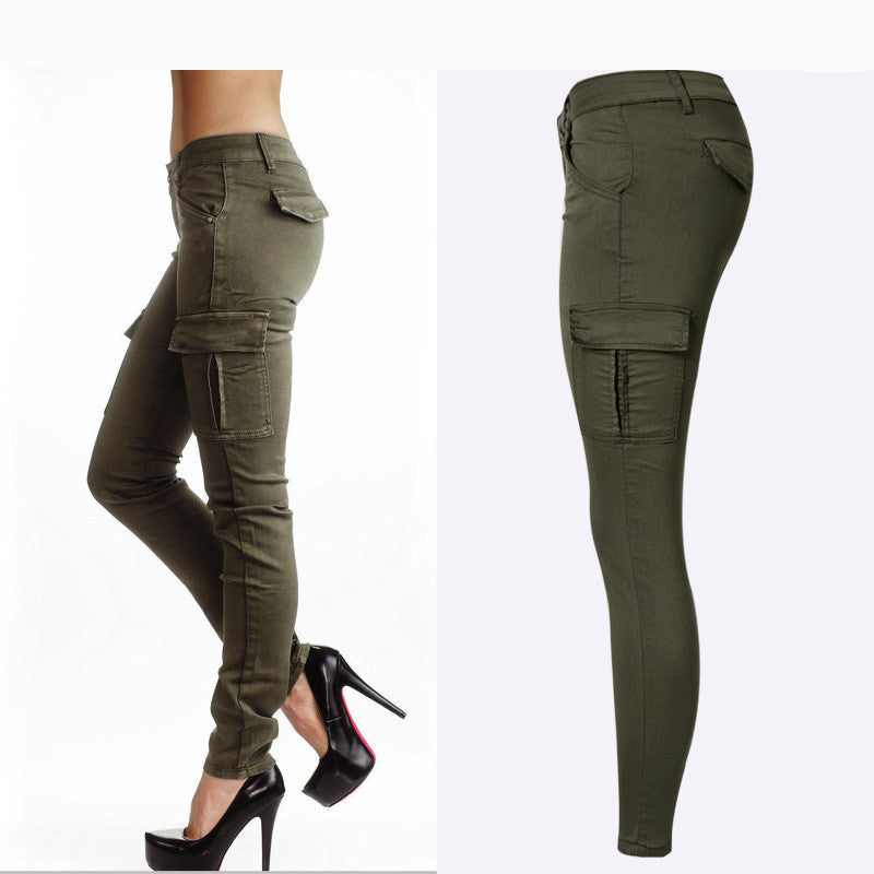 Hot Sexy Style Mid Waist Elastic Women's Stretch Pencil Skinny Jeans With Double Side Pockets In Army Green