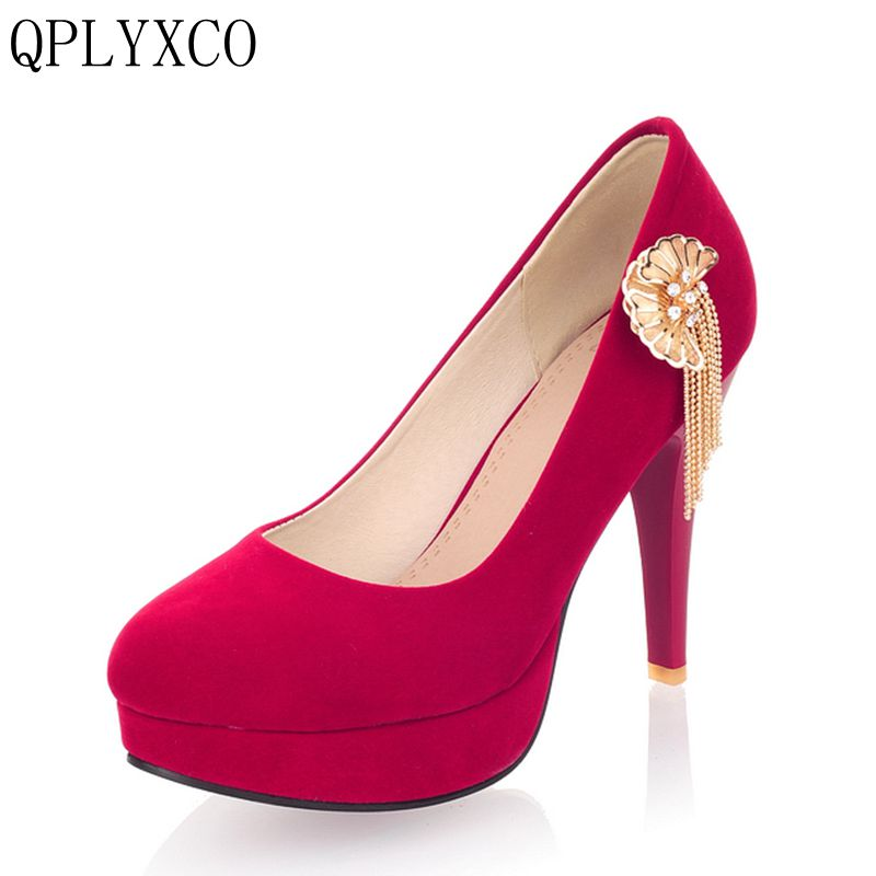 QPLYXCO New Sweet fashion super Big & samll Women's Round toe high heels