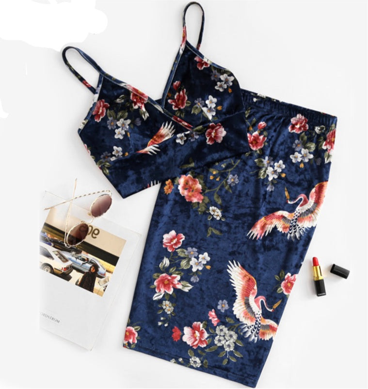 SHEIN Sexy Women Two Piece Set Elegant Navy Floral V Neck Sleeveless Velvet Bralette Top and Pencil Skirt Co-Ord