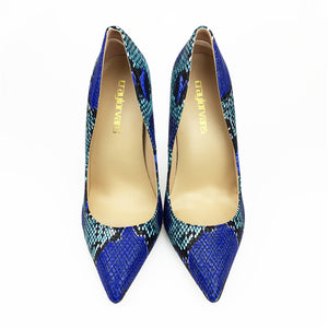 Craylorvans 2018 NEW ARRIVE! Women's Blue Snake Printed Pointed Toe Sexy Stilettos High Heels