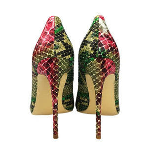 Craylorvans 12cm/10cm/8cm 2018 New Snake Printing women shoes Green high heel shoes Sexy Pumps Party wedding shoes size 43