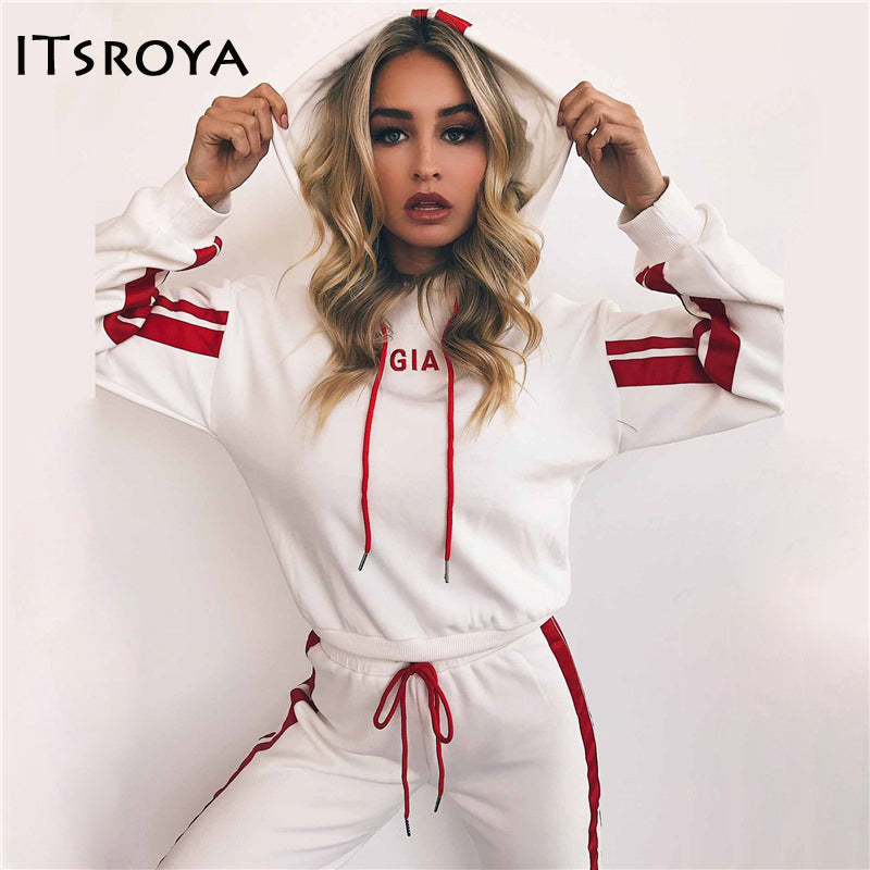 Women Lovely White Red Hooded Sportswear Sweatshirt And Pant Set  Sizes S - XXL
