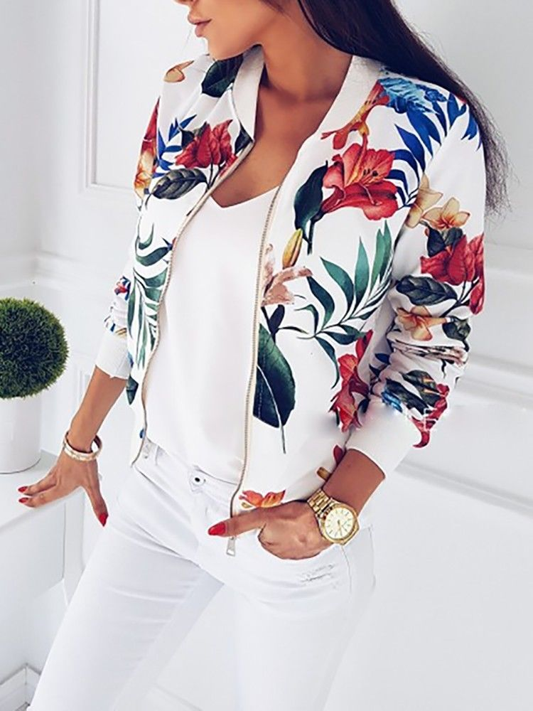 Women's Autumn Fashion Floral Zip Up Bomber Jacket Sizes S - XL