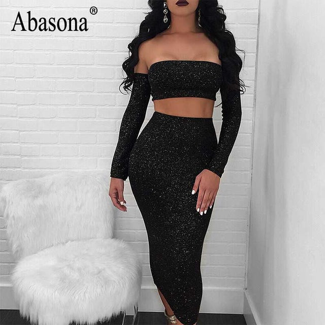 Women's Sexy Off Shoulder Sparkle Lace Up Two Piece Backless Party Dress Set By Abasona