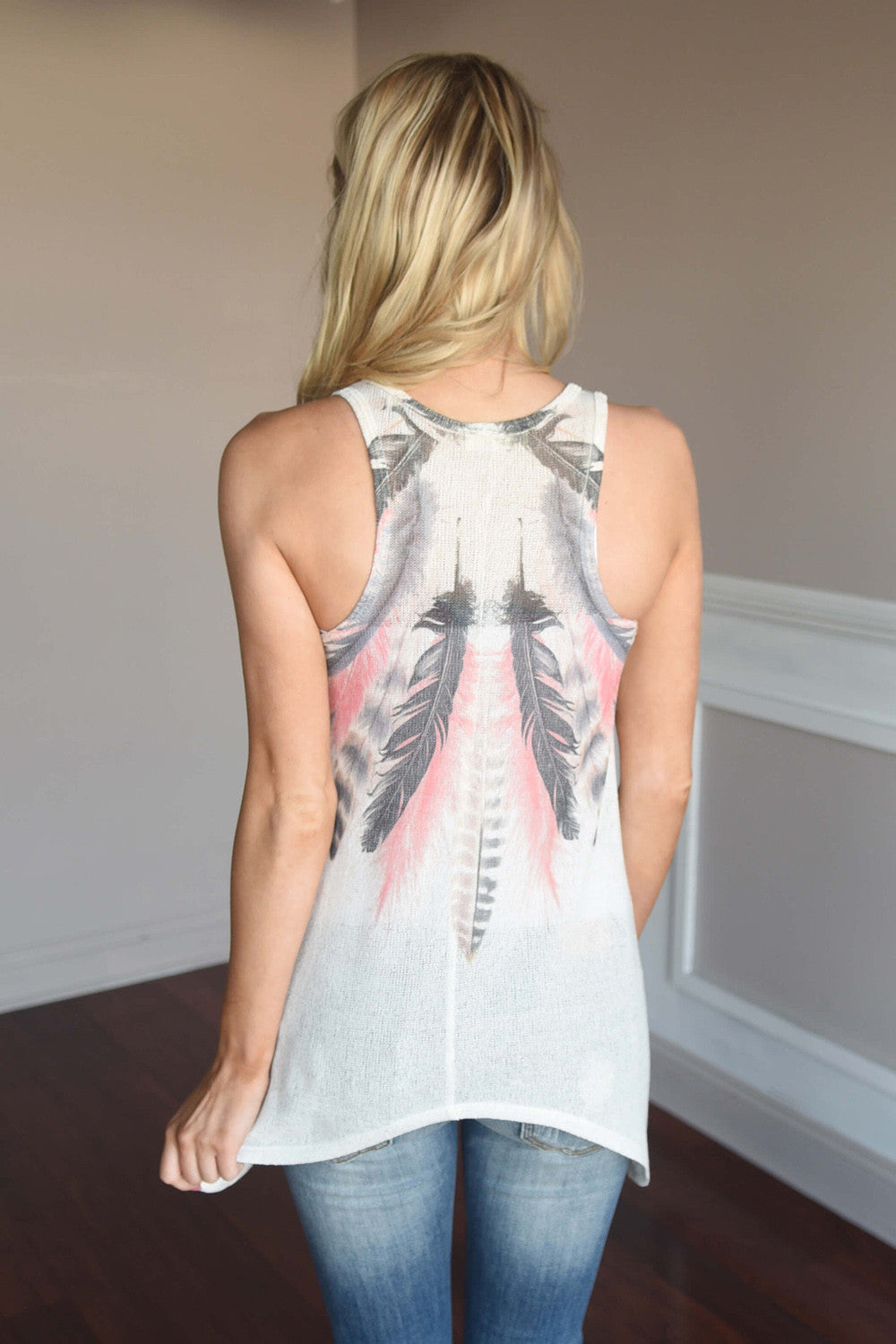 Women's Fashion Feather Print Sleeveless Pullover Tank Top Blouse Sizes S - XL