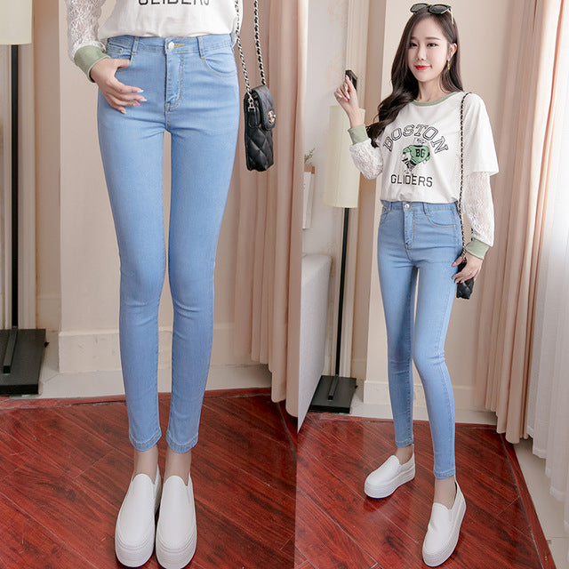 Women's High Waist Stretch Washed Denim Pencil Skinny Jeans