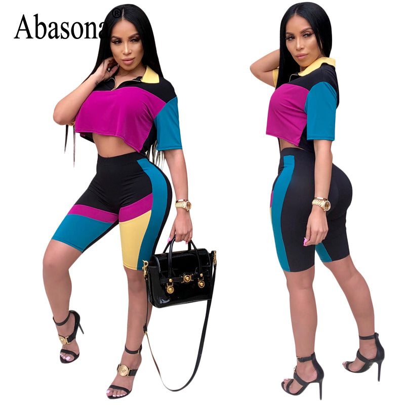 Sexy Multi Colored Women's V-Neck Short Sleeve 2 Piece Bodycon Outfit S - XXL