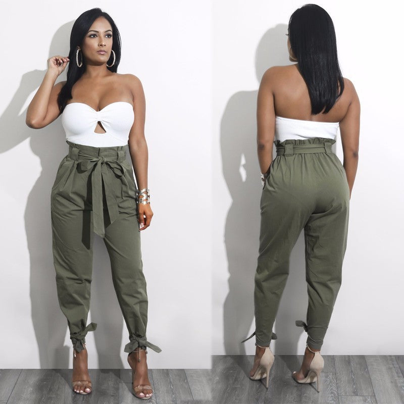 Itsroya  High Waist Ankle Length Pants 2018 Hot Sale Women Elastic Tie Trousers With Pockets