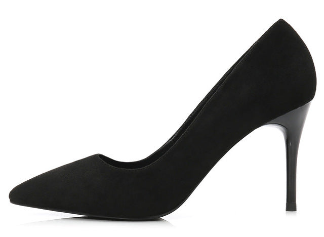 Sexy Woman's High Heels Pumps. Black Flock 8CM Ladies High Heel Wedding Party Shoes