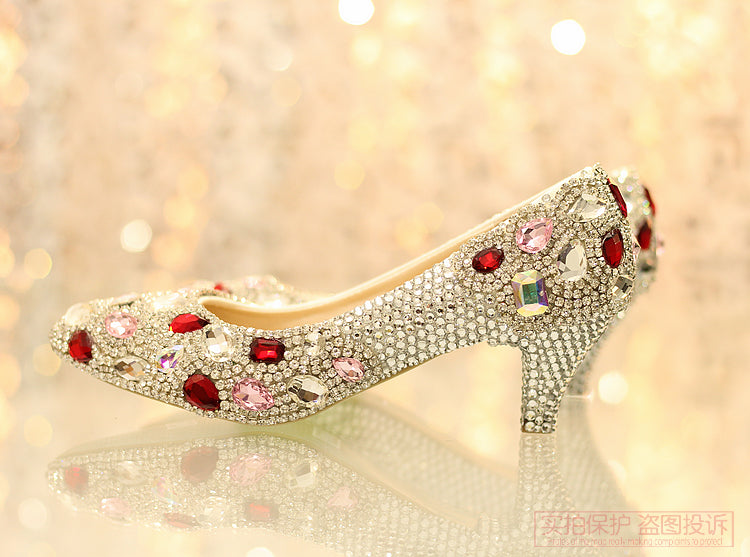 Fresh handmade crystal princess bride rhinestone wedding shoes