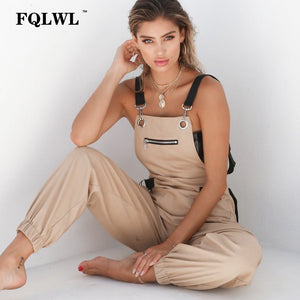 Sexy Sleeveless  Khaki Cargo Jumpsuit With Adjustable StrapsS - L