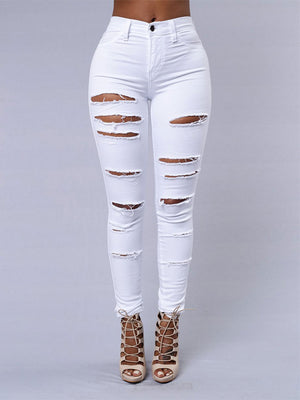 New 2018 High Waist Hole Stretch Pencil Skinny Ripped  Denim Jeans Pants Plus size